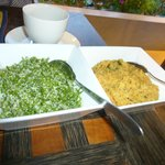 The sandalwood leaves salad on the left -- yummy