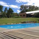 Der schön angelegte Garten mit Pool (Liegen und Handtücher)