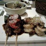 Lamb saté and grilled shrimps