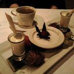 Dessert - lemongrass panna cotta, black glutinuous rice pudding