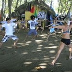 Surf Yoga Warm Ups at Playa Encuentro, Cabarete