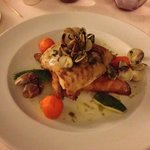 Sea bream with a seafood broth