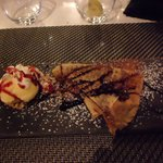 Crepe with nutella and ice cream.
