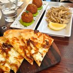 Share plates, pizza bread, croquetts and white bait.