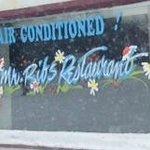 Love the Christmas Window Decor, Mr. Ribs     Main St. SW, Neepawa, Manitoba