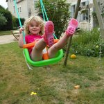 Loving the swings in the garden of the Manoir