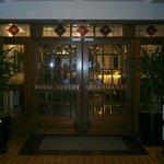Entrance to Royal Albert via hallway between their restaurant/cafe