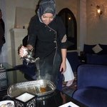 serving sweet mint tea Moroccan style