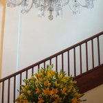 Beautiful chandelier and flowers in the foyer