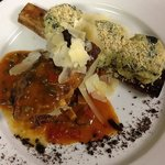 Slow braised short ribs with spinach & ricotta gnudi gratin