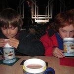 enjoying hot chocolate
