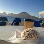 perfect beach morning with latte & great view