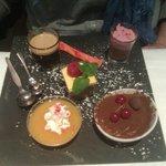 café gourmand (compote, crème de marron avec mousse framboise, tiramisu et mousse chocolat)