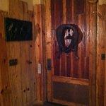 Rear view of wagon wheel door