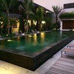 Swimming pool and sun lounges