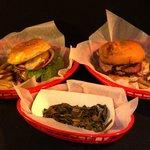 Burger, Brisket Baskets and Collard Greens