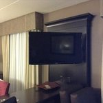 HUGE tv in center of room. Very clear. Very impressed.