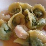 Tortelloni spinaci e gamberetti
