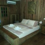 Inside the teak hut