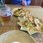 Green Curry with Mixed Sea Food and Vegetarian Drunken Noodles