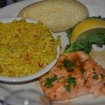 Salmon with jasmine rice.