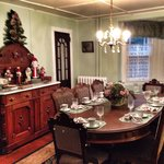 One of the dining rooms dressed for the season