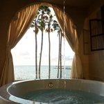 soaking tub on balcony