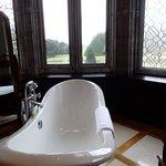Bay window roll top bath