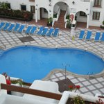 view from balcony to pool