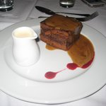 Delicious sticky toffee pudding with very strong Drambuie cream! Clean plates all round!