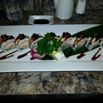 this was called black and white...it was a tempura shrimp California roll toppes with white tuna