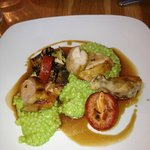 delicious chicken with basil risotto and veggies