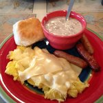 Scrambled eggs with cheese, sausage, biscuit and gravy-GOOD