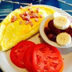 Ham and Cheese omlet with fresh fruit!