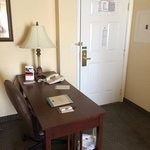 office desk and room entrance