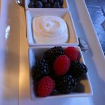 Fresh fruit and greek yogurt (made on premises) are part of the wonderful breakfast offerings