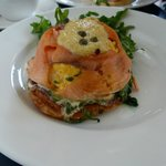 Smoked salmon with scrambled eggs on pastry