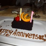 Our surprise anniversary cake by the head chef Jose Thachil..
