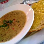 Delicious soup and garlic bread