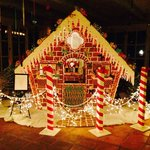 Larger-than-life Gingerbread house in the reception