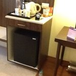 mini fridge and complementry beverage