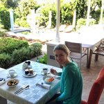 Breakfast on the veranda near the pool