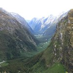 Looking down to Arthur River valley from McKinnon's Pass
