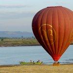 Balloons over Bagan beach landing