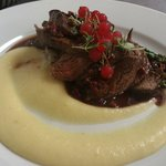 Venison fillet with parsnip puree, asparagus and lingonberry sauce