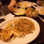 Fish, Majedra rice and salad.