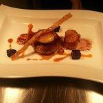 King scallops abd belly pork, black pudding