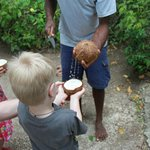 Fresh coconuts with the kids