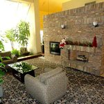Stone Fireplace in Public Area, decorated for Holidays
