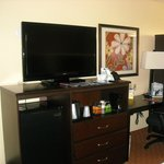 Tv with refrigerator,coffee plus space for clothes